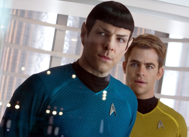 "Zachary Quinto, left, and Chris Pine in ""Star Trek Into Darkness."""