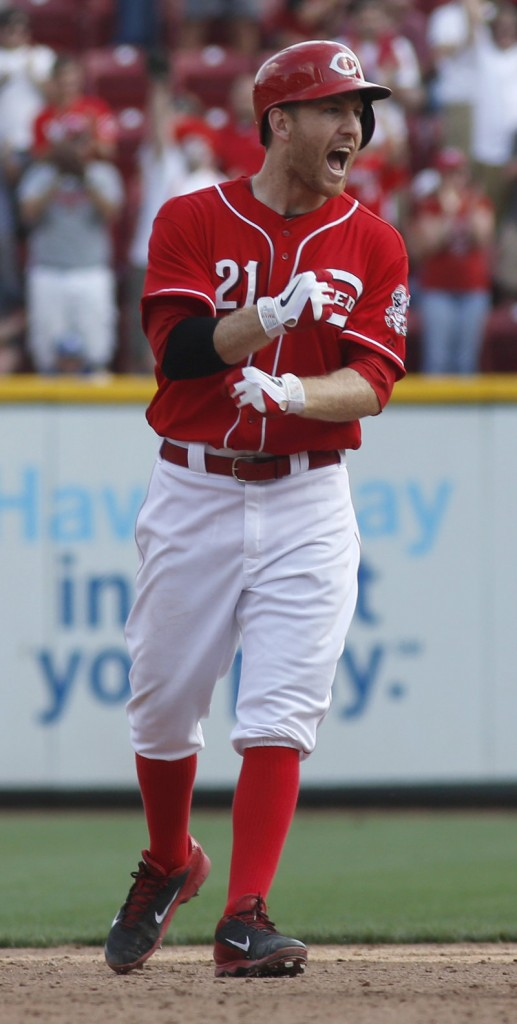 Cincinnati's Todd Frazier celebrates after hitting the game-winning single to drive home Billy Hamilton in the Reds' 4-3 win over the Dodgers at Cincinnati on Saturday.