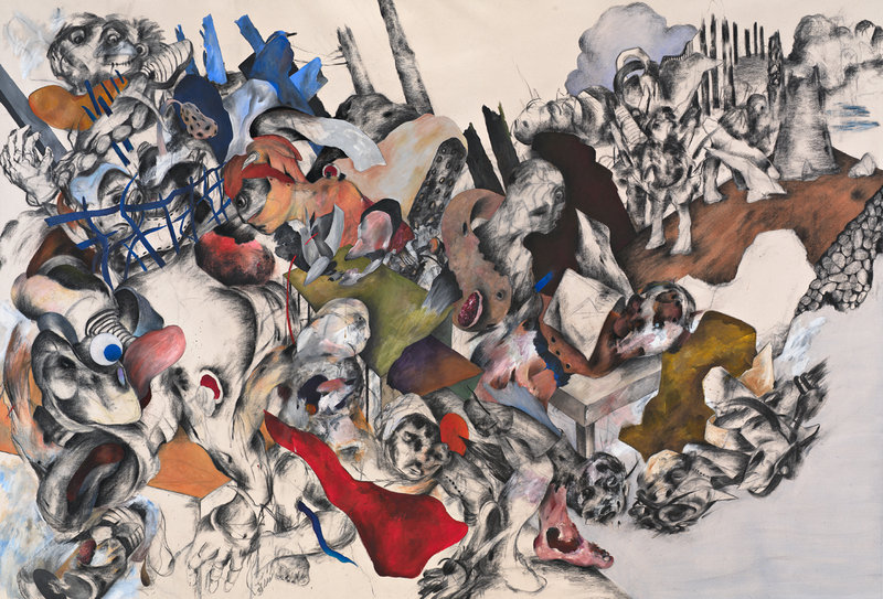 Untitled works by Ahmed Alsoudani, charcoal, acrylic and oil on canvas, above, and acrylic and charcoal on canvas, below.