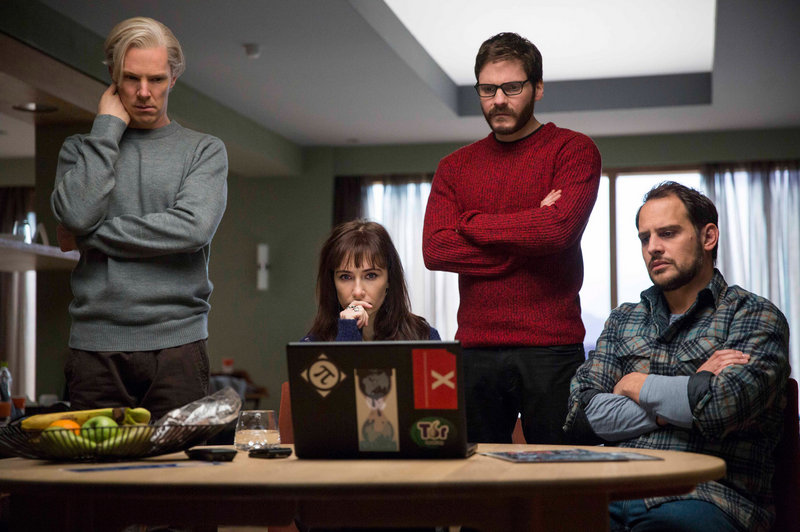 "Benedict Cumberbatch, Carice van Houten, Daniel Bruhl and Moritz Bleibtreu in a scene from ""The Fifth Estate,"" which opens in the U.S. in October."