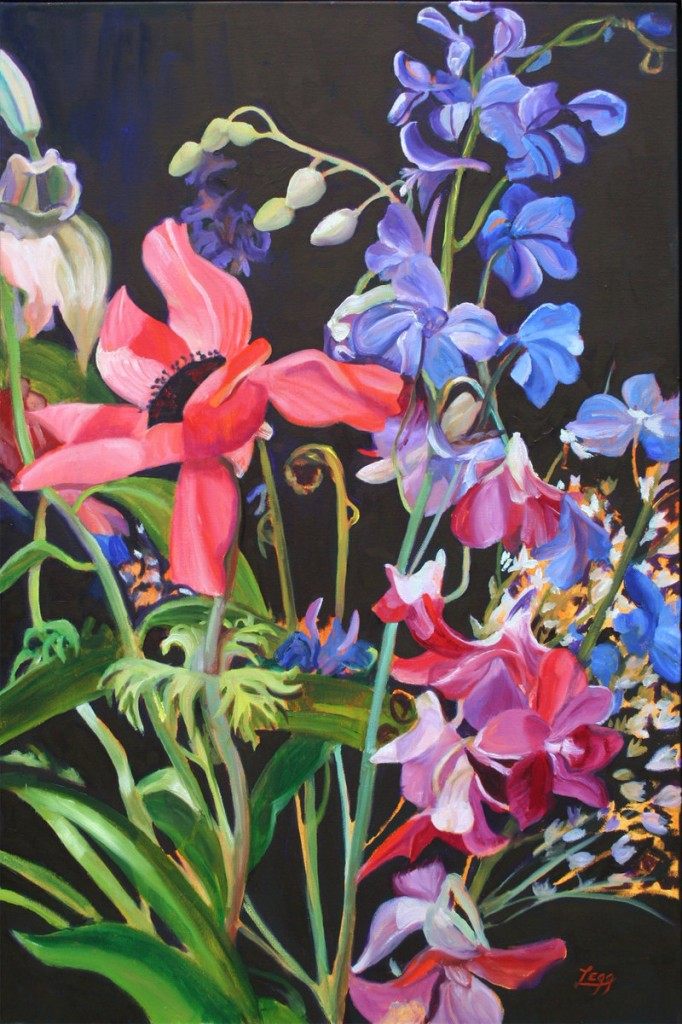 """A Bouquet is Born – (Rhapsody with Blue),"" oil on canvas by Kennebunk artist Ann Legg, from ""Bold Colors,"" the exhibition of her work continuing through Sept. 26 at the Dogfish Bar and Grill in Portland."