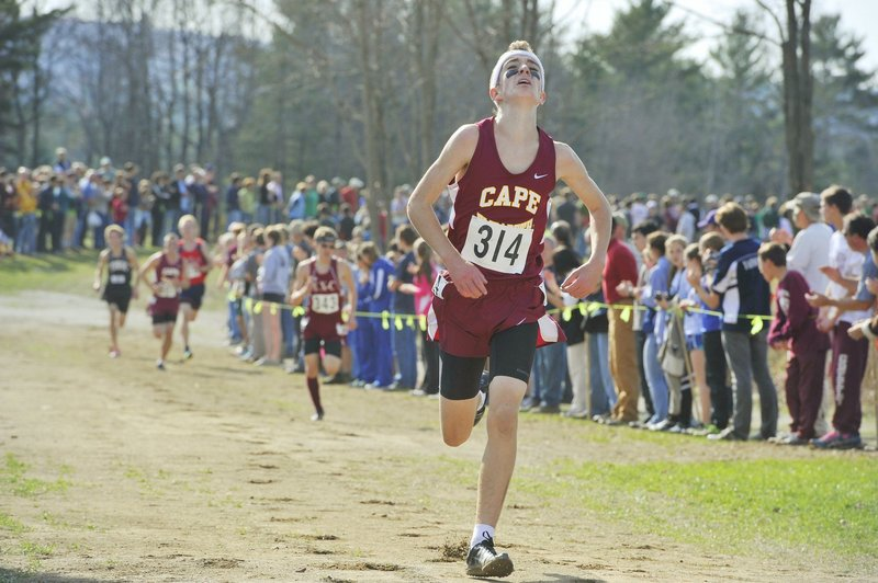 Liam Simpson of Cape Elizabeth is usually easy to find near the finish line. He's either in front or not far away, helping his team to a state title last year.