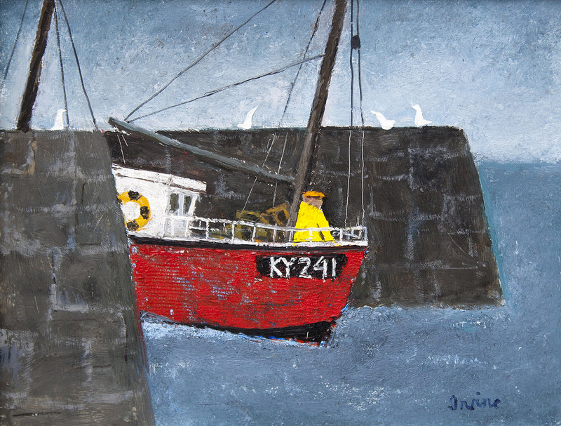"""""""Leaving the Harbor, Scotland"""" by William Irvine, 2013, oil on panel"""