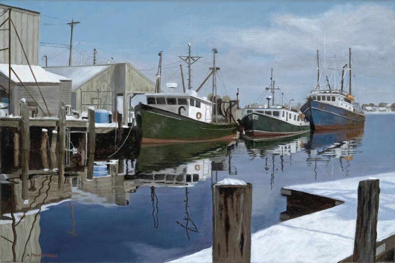 """Hobson's Whart"" is one of Ann Mohnkern's realistic views of the waterfront."