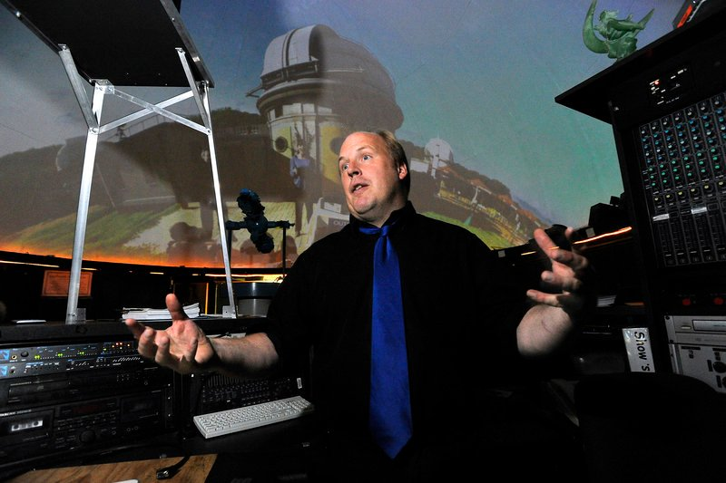 Edward Gleason, manager of the Southworth Planetarium at USM, talks about the possible elimination of the physics major at the university on Thursday, Sept. 12, 2013.