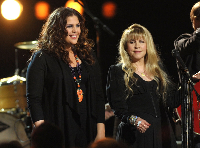 "Hillary Scott of Lady Antebellum, left, performs with Stevie Nicks for Friday's episode of ""CMT Crossroads."""