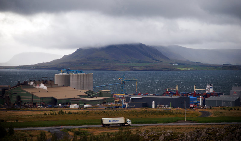 An Eimskip truck carrying a container of fresh lamb drives past the Hvalfjordur fjord in western Iceland on its way to Reykjavek on Tuesday. The container was put on the container ship Skogafoss, which left Reykjavik on Wednesday and is scheduled to arrive in Portland on Sept. 20.