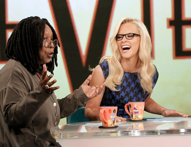 "Whoopi Goldberg and Jenny McCarthy on the set of ""The View"" last week. It was McCarthy's debut appearance on the show, which began its 17th season."