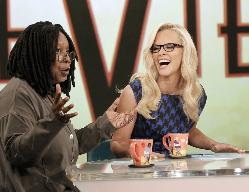 Whoopi Goldberg and Jenny McCarthy on the set of