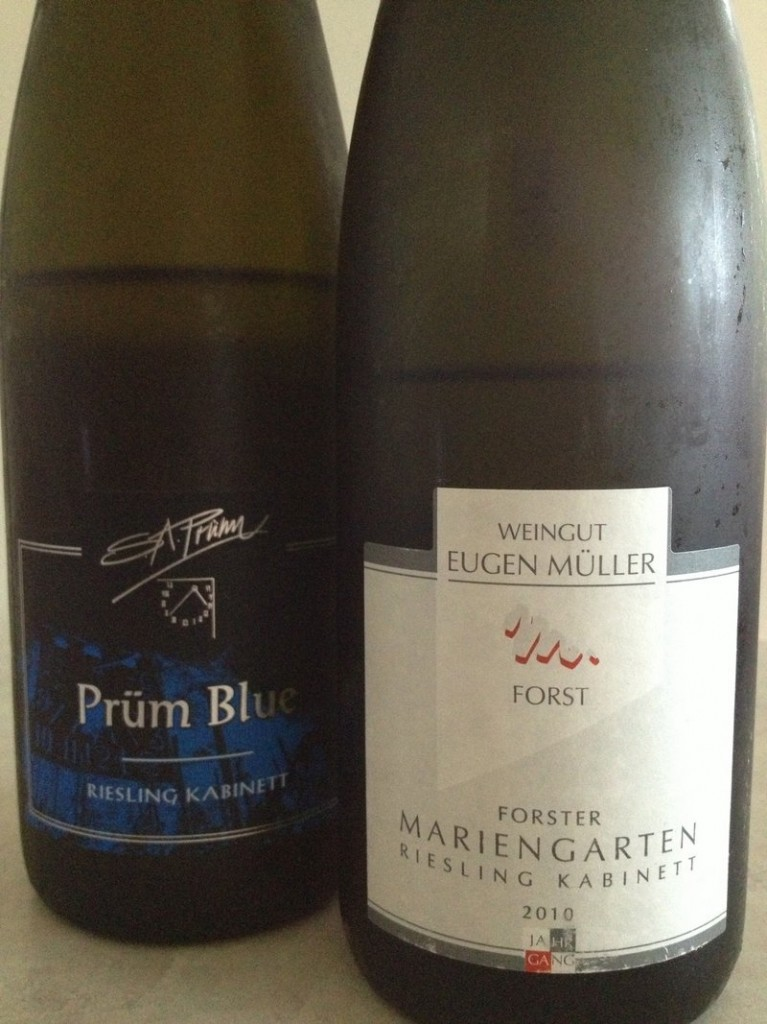 S.A. Prum Blue Kabinett 2007 exemplifies the positive effects of maturity on a Mosel Riesling. Eugen Muller Forster Mariengarten Kabinett from the Pfalz region pulls off a perfect balancing act.