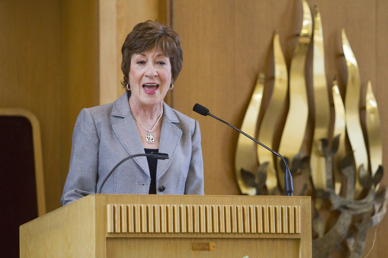 U.S. Sen. Susan Collins speaks about a strong U.S.-Israel alliance at Temple Beth El on Sunday.