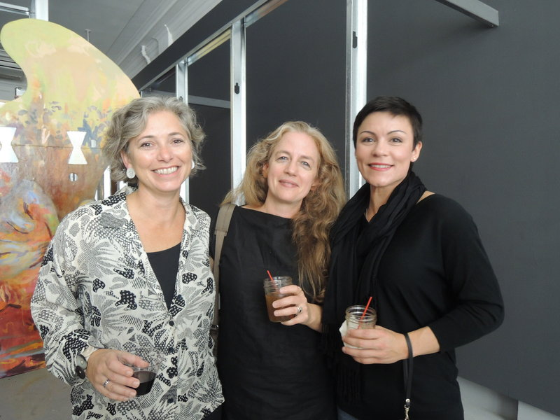 Betsy Scheintaub of Portland, left, Karen Gelardi of South Portland and Tatiana Whitlock of Freeport at the Space event.