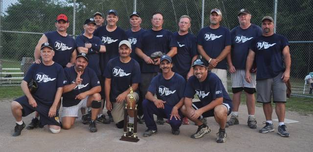 RJ's Pub won the Greater Portland Senior Men's Softball League championship, beating Atlantic Coast Title 19-6 in the final. Team members, from left to right: Front row – Ken Tubbs, Jack Collett, Dan Sullivan, Randy Aspiras and Dennis Junkins; Back row – Steve Fitzgerald, Peter Foley, Wayne Shaw, John Malone, Jesse Shannon, Gene Cary, Dave Sinclair, Doug Candage, John Gildard and Buddy Lakin.
