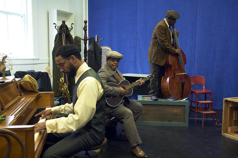 "Kevin T. Carroll, Harvy Blanks and Ray Anthony Thomas in the Portland Stage Company production of ""Ma Rainey's Black Bottom."" The August Wilson play, starring Tina Fabrique in the title role, is set in 1927 Chicago during a recording session for Rainey, a blues singer."