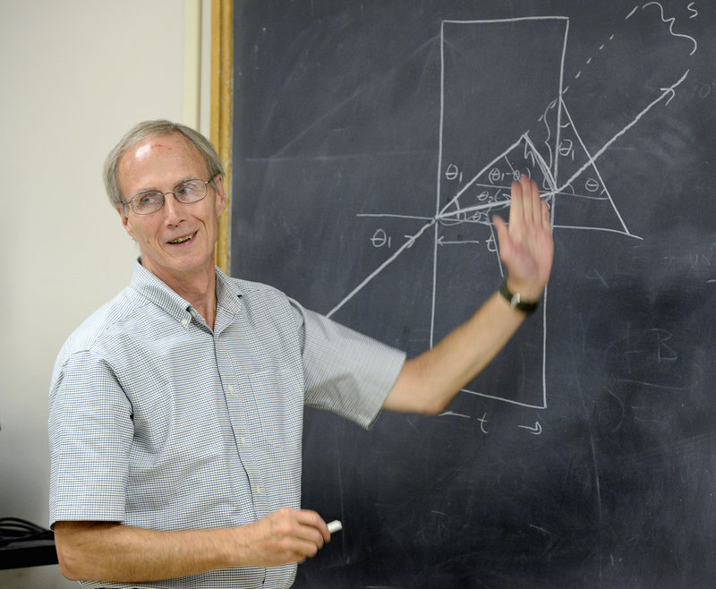 Bob Coakley teaches a physics class at the University of Southern Maine in Portland.