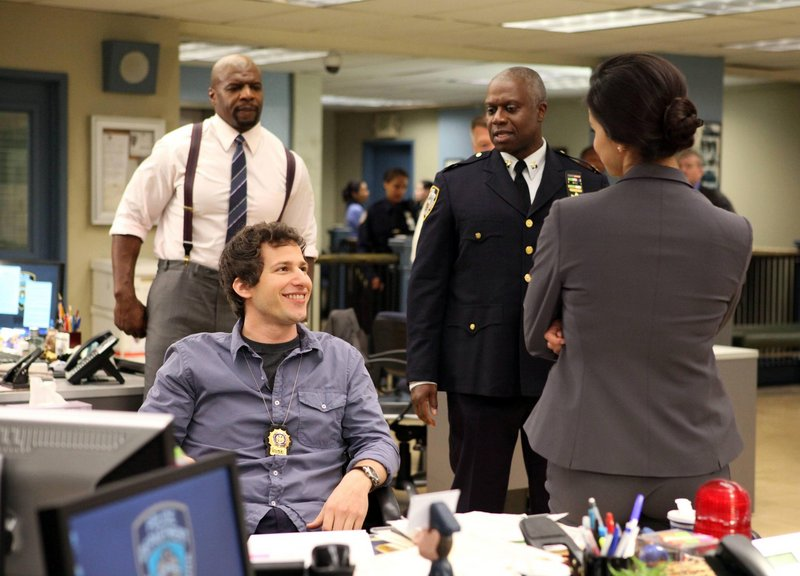 "This critic says ""Brooklyn Nine-Nine,"" starring Andy Samberg, seated, and Andre Braugher, could be the best new comedy of the season."