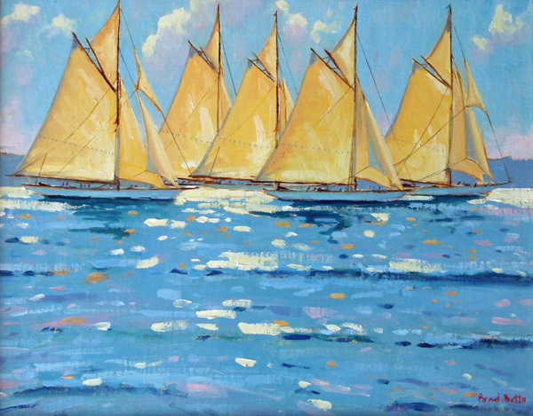 """Race Day,"" oil by Brad Betts, from ""Boats and Harbors,"" the new exhibition of his work continuing through Nov. 2 at Gleason Fine Art in Boothbay Harbor."
