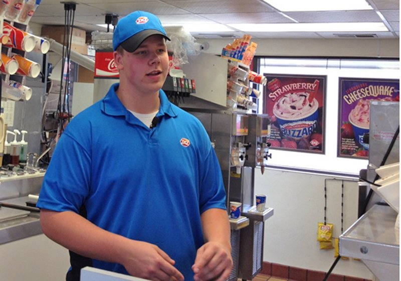Dairy Queen manager Joey Prusak in Hopkins, Minn., is winning praise for his treatment of a visually impaired customer who unwittingly dropped a $20 bill on the floor.