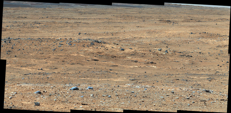 Image taken by NASA's Curiosity rover shows a view of Gale Crater. This month, the rover reached its first rest stop on its trek toward Mount Sharp, which rises from the crater.