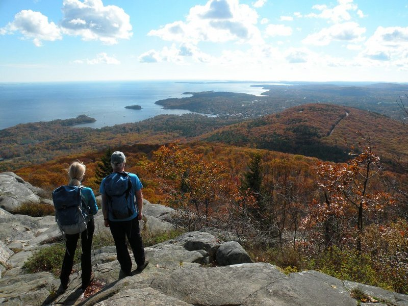 Hikers looking for great spots to view fall foliage in Maine won't be disappointed by a trek to Ocean Lookout on Mount Megunticook in Camden Hills State Park.