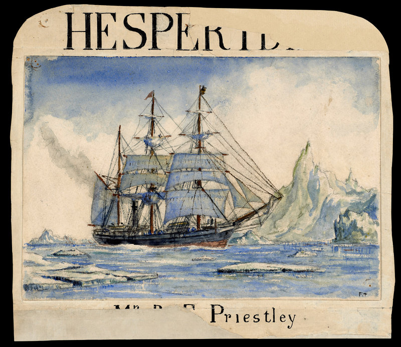Raymond Edward Priestly's drawing of the Terra Nova in ice pack, documenting Shackleton's 1910 Antarctic expedition.
