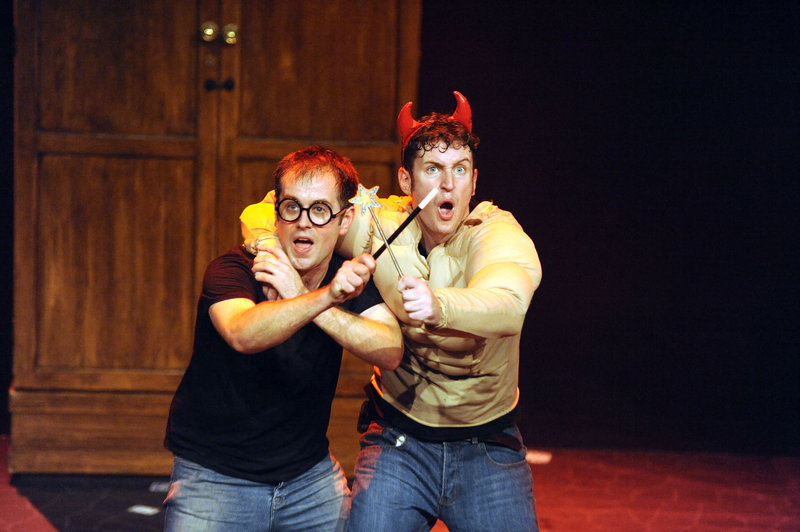 """Potted Potter – The Unauthorized Harry Experience – A Parody by Dan and Jeff"" condenses all seven Harry Potter books (and a real-life game of Quidditch) into 70 frantically paced minutes. Starring Jefferson Turner, left, and Daniel Clarkson, ""Potted Potter"" will be at Merrill Auditorium in Portland on Wednesday and Oct. 3."