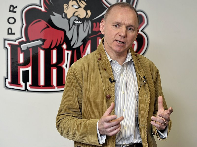 Portland Pirates owner Brian Petrovek, above, and Ron Cain will host a news conference at the Androscoggin Bank Colisee in Lewiston at 2 p.m. Thursday to discuss the Pirates immediate future.