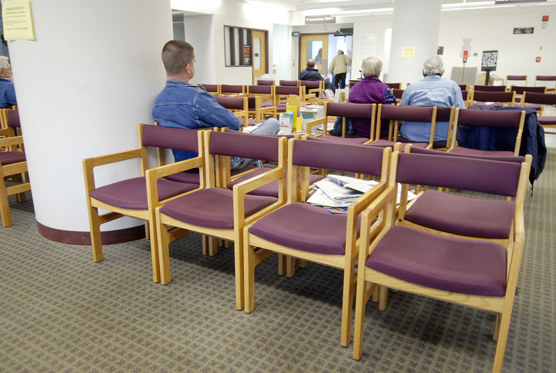 Patients wait in the waiting room at the Togus Veterans Affairs Medical Center in a 2007 file photo. Though the VA system has its shortcomings, those employed by the system do their jobs with pride and dedication, a reader says.