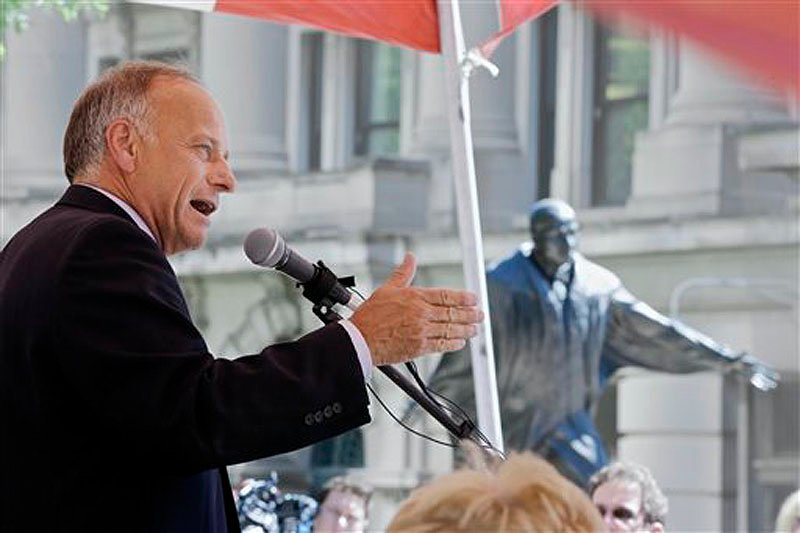 "Rep. Steve King, R-Iowa, shown speaking at a rally against illegal immigration in Omaha, Neb., on Friday, is a senior member of the House Agriculture Committee, which has jurisdiction over food stamps. ""I think a lot of our members want to finally make real reforms to the food-stamp program,"" he said."