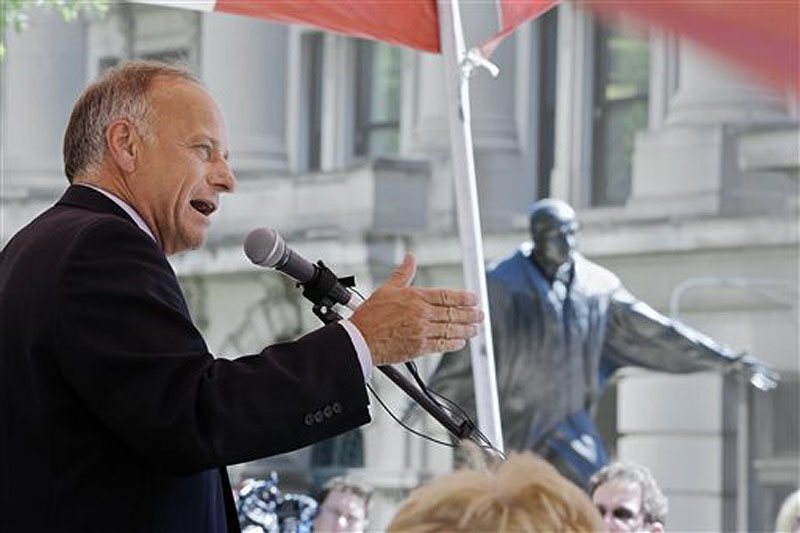 Rep. Steve King, R-Iowa, shown speaking at a rally against illegal immigration in Omaha, Neb., on Friday, is a senior member of the House Agriculture Committee, which has jurisdiction over food stamps.