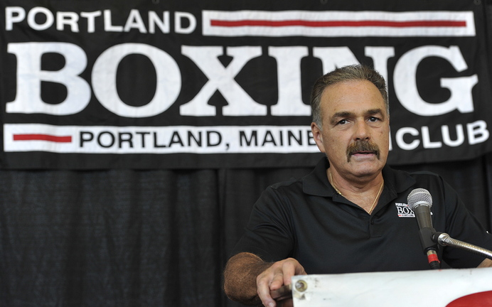 John Ewing/Staff Photographer Boxing promoter Bob Russo, who operates the Portland Boxing Club, on Wednesday announces the fight card for the Nov. 16 return of professional boxing to the Portland Expo.