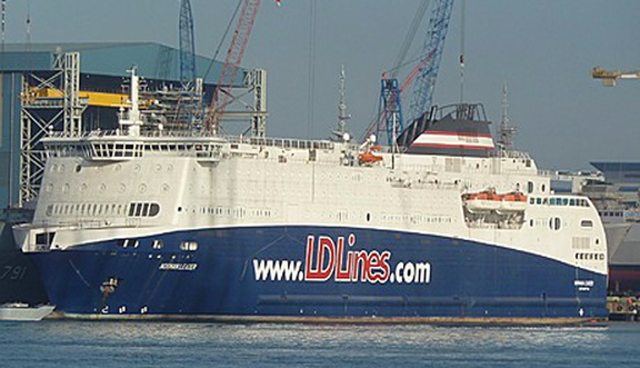 The Norman Leader is shown tied up at a dock at the Singapore shipyard where it was built. The ferry, which has been renamed the Nova Star, will be used to travel between Maine and Nova Scotia, Canada.