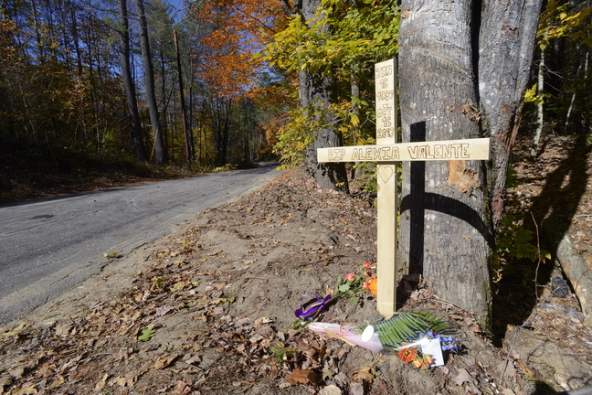 "Hundreds of students and other young people made a pilgrimage Thursday to the site where Alexia Valente's car crashed off River Road in Hiram. ""She was a popular student. ... There are many friends who are really just kind of stunned by the loss,"" said Sacopee Valley High Principal Britt Wolfe."