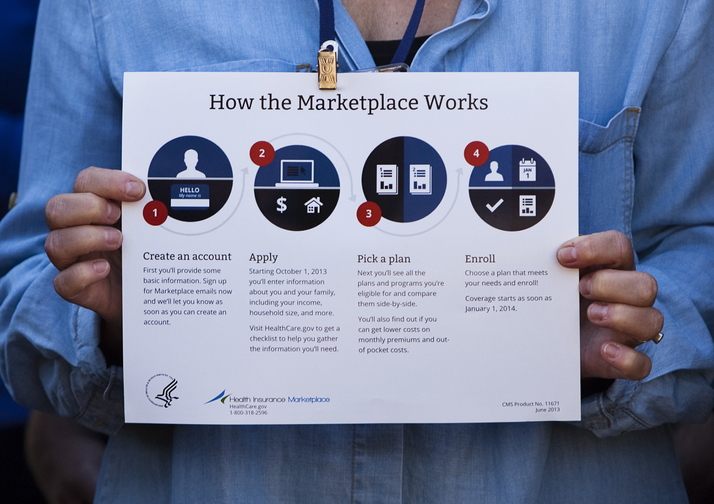 Carl D. Walsh/Staff Photographer With the health insurance marketplace open for business, an attendent at an informational event at Bell Buoy Park in Portland on Tuesday, October 1, 2013, holds a graphic explaining how the new marketplace works.