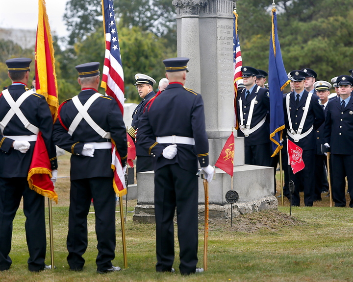 Portland Fire Chief Jerome LaMoria talks about the service firefighters provide during the Portland Veteran Firemen's Association memorial service at Forest City Cemetery in South Portland on Sunday.