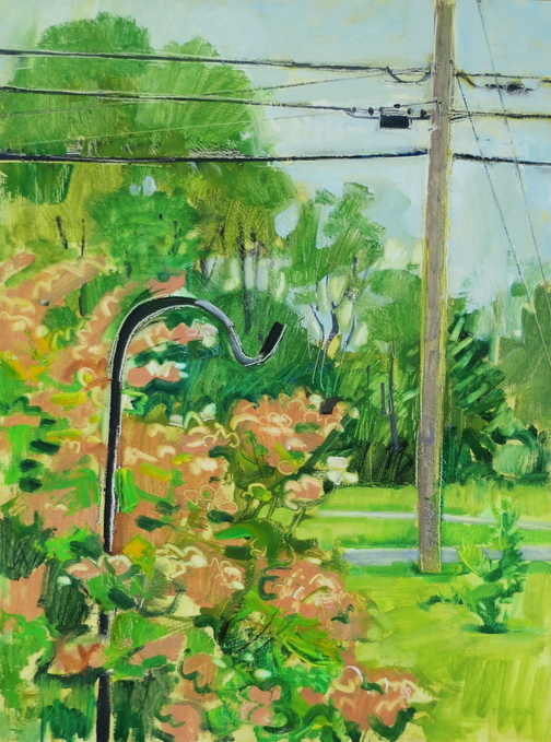 """Shepard's Hook and Telephone Pole"" by Jeff Epstein, from ""Paintings,"" his exhibition continuing through Nov. 30 at Art House Picture Frames in Portland."