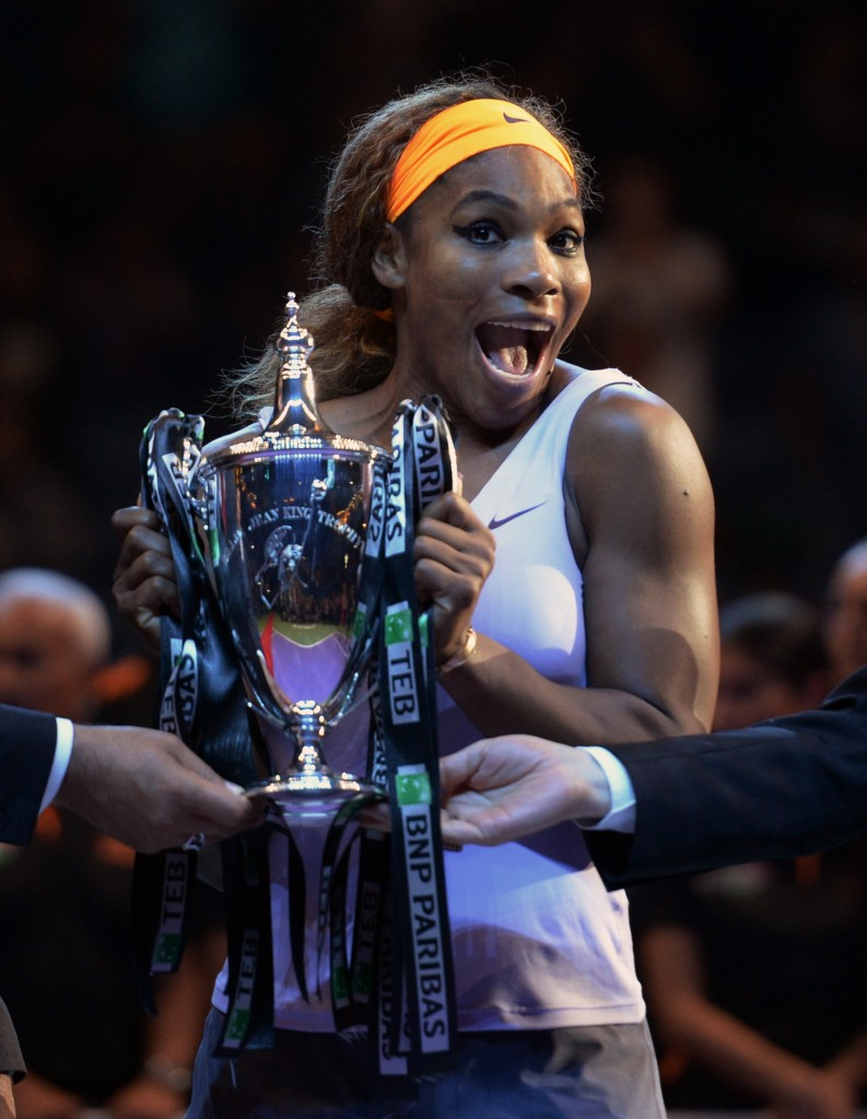 Serena Williams celebrates as she holds the trophy after her victory over Li Na of China in the final of the WTA Championship in Istanbul, Turkey, on Sunday.