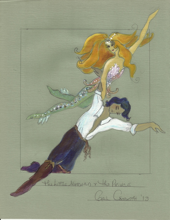 "Associate director Gail Csoboth's sketches for her costumes for ""The Little Mermaid."""