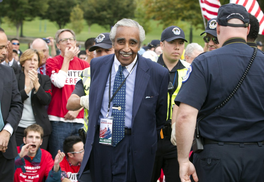 Rep. Charles Rangel, D-N.Y., is arrested in Washington on Tuesday during a massive rally seeking to push Republicans to hold a vote on a stalled immigration reform bill.