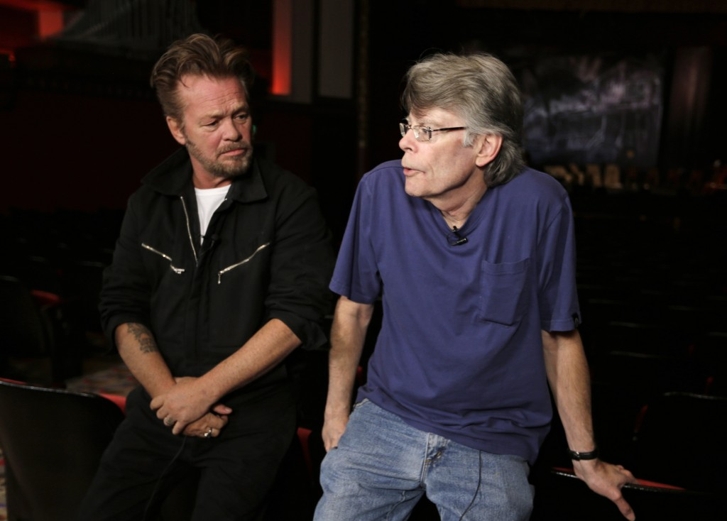 """Musician John Mellencamp, left, and writer Stephen King talk about their collaboration at a press preview of the musical """"Ghost Brothers of Darkland County"""" at the Indiana University Auditorium in Bloomington, Ind."""