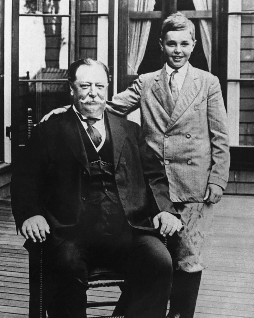 President William Howard Taft poses with his son Charles while on vacation in Beverly, Mass. History buffs know Taft is the only president to later become Supreme Court chief justice, but he's also remembered as the president whose weight, at times well over 300 pounds, made headlines. In the early 1900s, way before Weight Watchers, the nation's 27th president was helping to usher in a modern approach to treating obesity according to a report released Monday in the journal Annals of Internal Medicine.