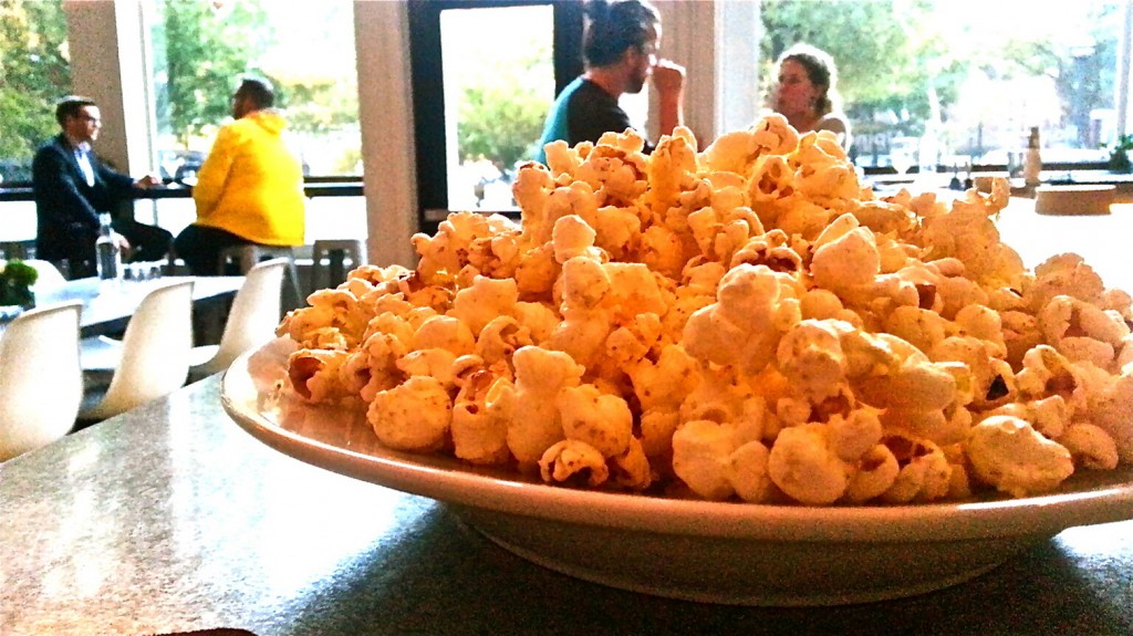 Hunt & Alpine Club's food offerings include its signature popcorn and Scandinavian fare.