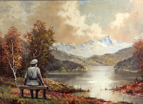 """""""The banality of the banality of evil"""" is Banksy's title for a painting he added a Nazi soldier to after buying the pastoral scene at a thrift shop. It will be resold to benefit a charity."""