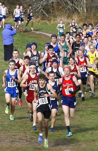 Up a hill they go, the runners in the Western Class B meet Saturday at Twin Brook. Liam Simpson of Cape Elizabeth was the Class B winner, joining Ryan Cadorette of Thornton Academy in Class A and Josef Holt-Andrews of Telstar in Class C as champions.
