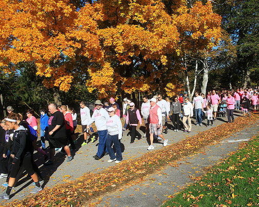 Breast cancer survivors, family and friends join the American Cancer Society walk to support the fight against breast cancer Sunday at Fort Williams Park in Cape Elizabeth. More than 1,500 people participated, raising more than $145,000.