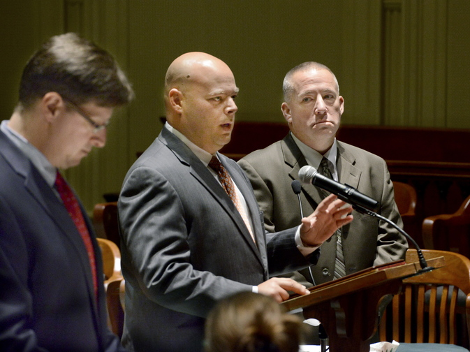 Michael Warbin, right, with his attorney Jonathan Berry, pleads not guilty during his arraignment in Androscoggin County Superior Court in Auburn on Thursday, Oct. 31, 2013. Deputy District Attorney Andrew Robinson is at left.