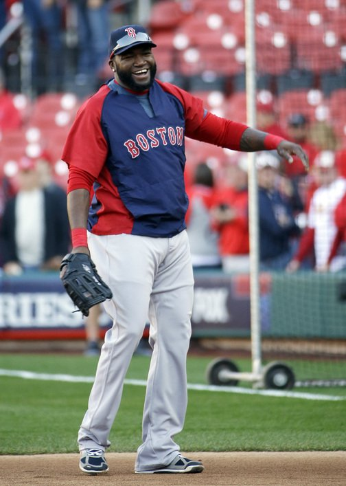 David Ortiz had his glove, needed his glove Saturday night for Game 3 of the World Series. With no designated hitter, Ortiz played first base and Mike Napoli was on the bench against the St. Louis Cardinals.