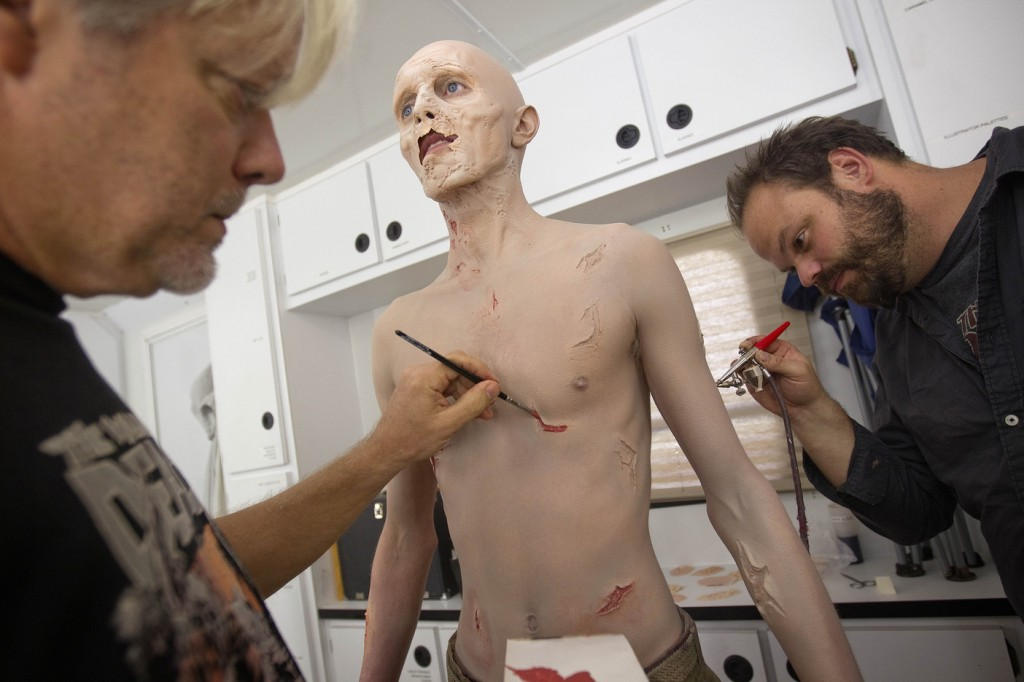"""Kevin Galbraith undergoes a three-hour make-up session to transform into his zombie character recently on the set of """"The Walking Dead,"""" in Senoia, Ga."""