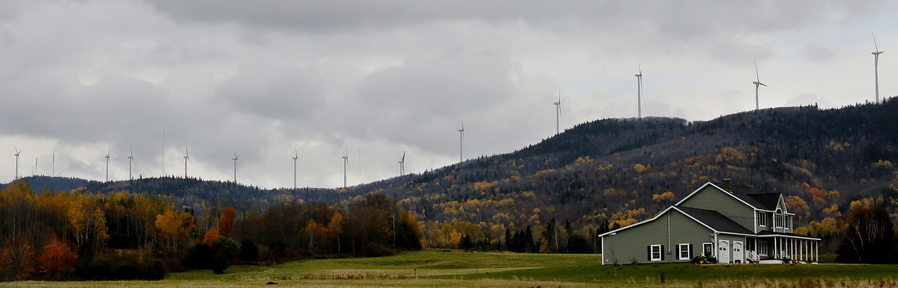 The Mars Hill wind farm, seen Wednesday, October 16, 2013, stretches the length of Mars Hill Mountain.