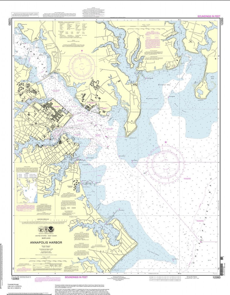This image provided by NOAA shows a print-on-demand nautical chart for Annapolis Harbor last updated in January 2013.